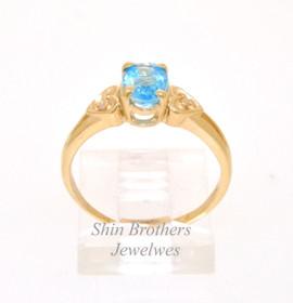 10K Yellow Gold Diamond Aquamarine  Ring 19210038