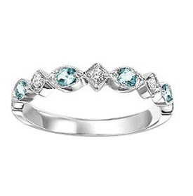 14K White Gold Blue Topaz & Diamond Stackable Ring 12002449