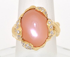 14K Yellow Gold Quartz Diamond Ring 12002436