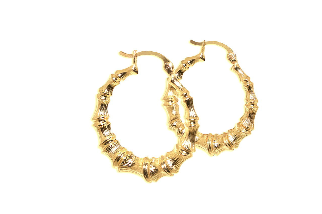 f32adc417 14K Yellow Gold Bamboo Hoop earrings Best Price From Shin Brothers ...