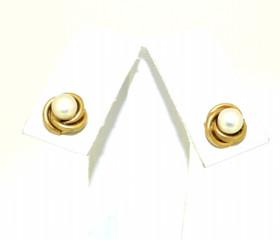 14K Yellow Gold Pearl Love Knot Stud Earrings  42002569