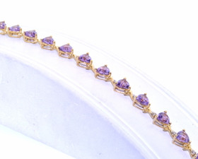 "14K Yellow Gold Diamond Amethyst 7"" Stone Bracelet   22000670"