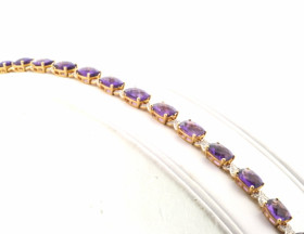 "14K Yellow Gold Diamond Amethyst 7.5"" Stone Bracelet 22000194"