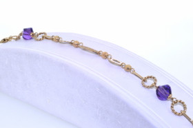 "14K Yellow Gold Fancy Amethyst 7.5"" Stone Bracelet 22000306"