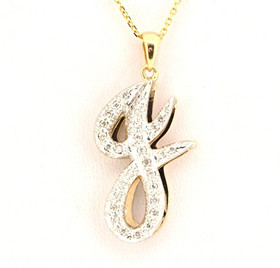 14K Yellow Gold Diamond J Initial Pendant 51001696