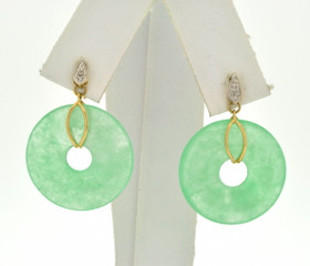 14K Yellow Gold Circle Jade Drop Earrings 42002589