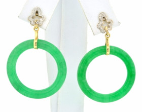 14K Two Tone Gold Green Circle Jade Hanging Earrings 42002592