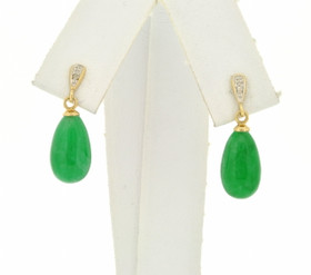 14K Yellow Gold Colored Jade Hanging Earrings 42002596