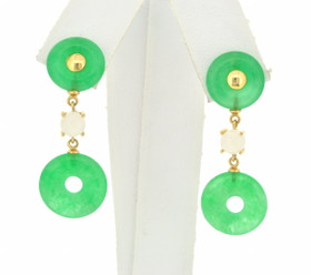 14K Yellow Gold Green Circle Jade Hanging Earrings 42002594