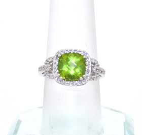 14K White Gold Diamond Peridot Ring  49210024
