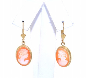14K Yellow Gold Cameo Lever Back Earrings  42002603