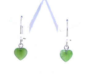 14K White Gold Heart Jade/Pearl Hanging Earrings 42002595