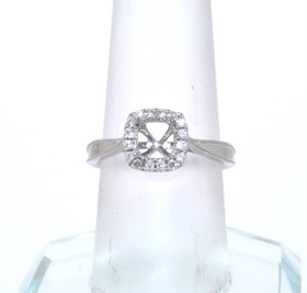 14K White Gold Diamond and 4 Prong Engagement Ring Setting