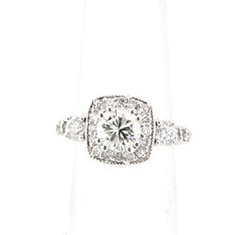 14K White Gold Antique Style GIA Certified Diamond Engagement Ring -R