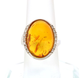 14K White Gold Diamond/ Amber Ring  12002414
