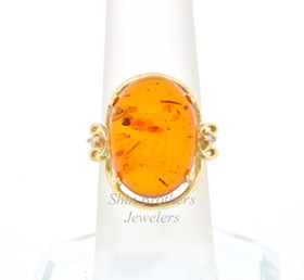 14K Yellow Gold Amber & Diamond Ring    12002419