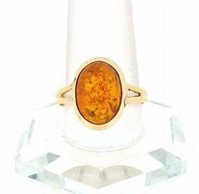 14K Yellow Gold Amber Ring 12002409