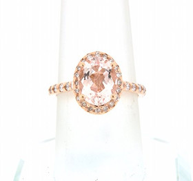 14K Rose Gold Diamond  Morganite  Ring 12002411