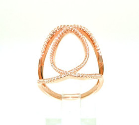 Sterling Silver With Pink Gold Overlay Cz Oval Shape Ring 81010433