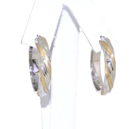 Twisted Hoop 14k Two Tone Gold Earrings 40002189 By Shin Brothers Jewelers Inc