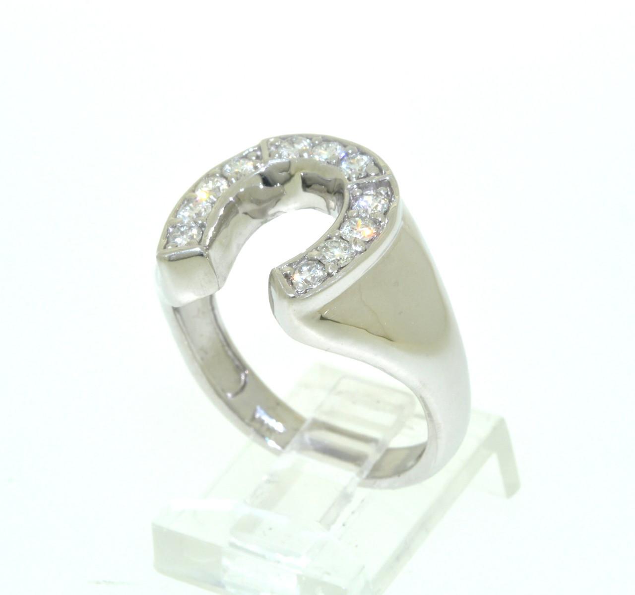 de8615cfca25e 14K White Gold Diamond Horseshoe Men's Ring 11005204