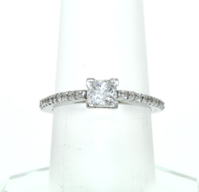 14k White Gold Princess Cut 0.5ct Diamond Engagement Ring
