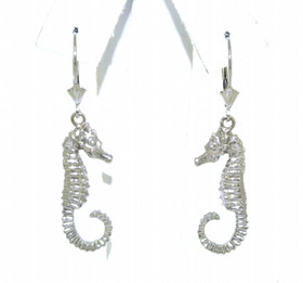 14K White Gold Seahorse Lever Back Earrings 40002196