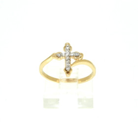 14K Yellow Gold Diamond Cross Ring 11005217