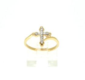 14K Yellow Gold Diamond Cross Ring 11005217
