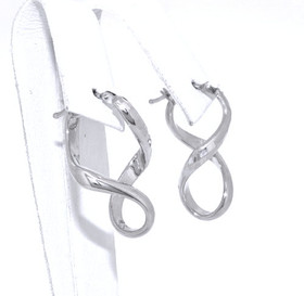 14K White Gold Twisted Hoop Earrings 40002159