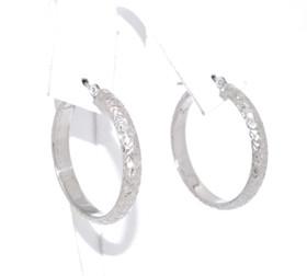 14K White Gold D/C Hoop Earrings 40002153-E