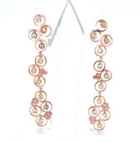 14K Pink Gold Diamond Hanging Fancy Earrings  41002030