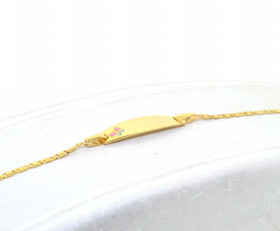 14K Yellow Gold Baby ID Enamel Butterfly Bracelet 20001325