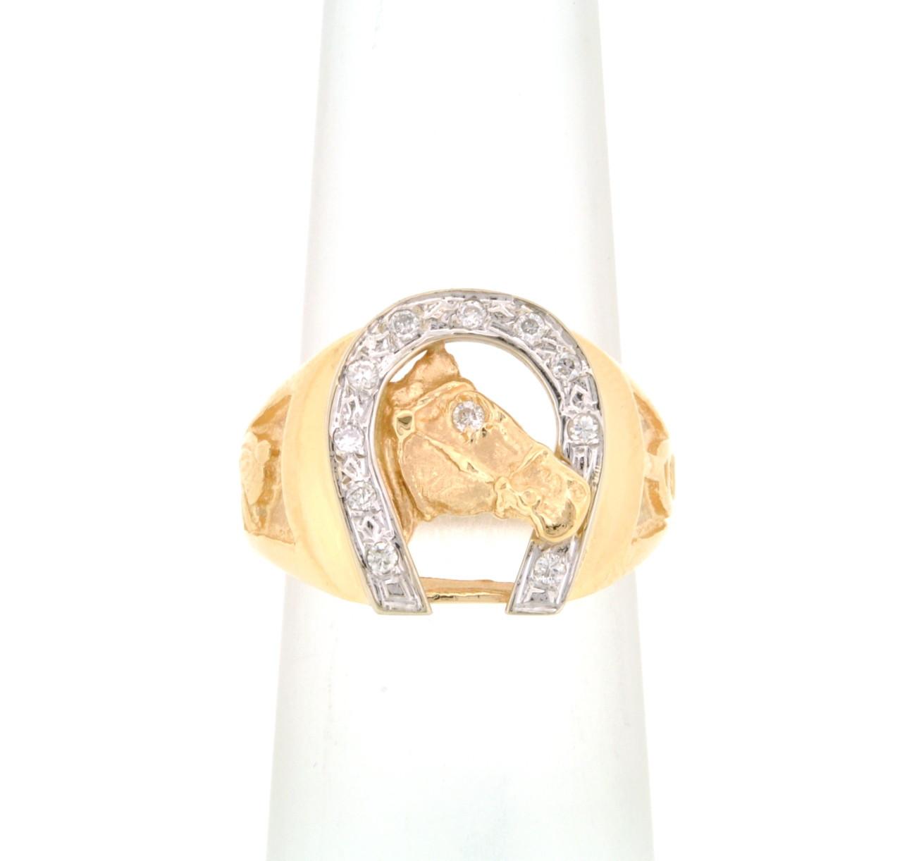 7680cd089f1e8 14K Yellow Gold Diamond Horseshoe Men's Ring 11005160