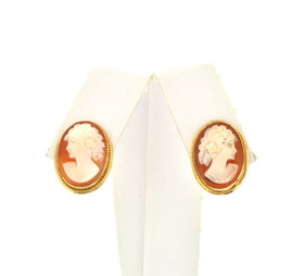 14K Yellow Gold Cameo Post Back Earrings 42002600