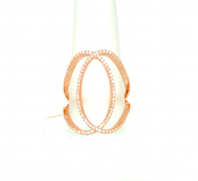 Pink Gold Plated Silver CZ Oval Criss Cross Ring 81210102