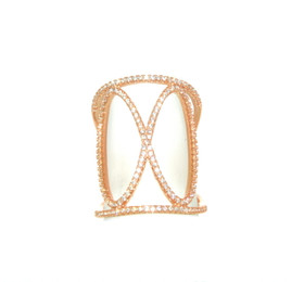 Pink Gold Plated Silver CZ Adjustable Fancy Ring 81210097