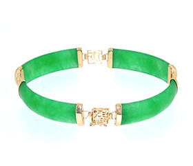 "14K Yellow Gold Colored Treated Green Jade 7"" Bracelet 22000666"