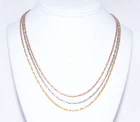 14K Tri Color Gold Triple String Necklace 30001966
