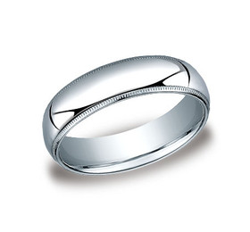 14K White Gold 6mm Wedding Band 10017082