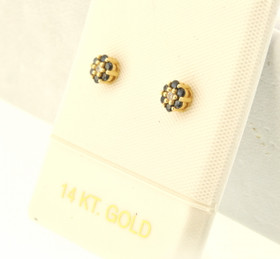 14K Yellow Gold Sapphire Flower Studs Earrings 42002527