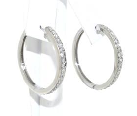 14K White Gold Diamond Hoop Earrings 41002042