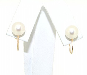 14K Yellow Gold Non Pierced Screw on Pearl Earrings 42002561