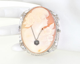 14K White Gold Cameo Pendant/Pin 52001583