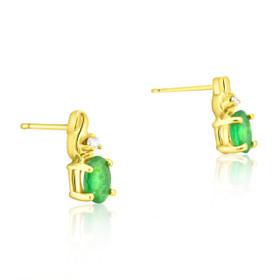 14K Yellow Gold Diamond and 1ct Emerald Oval Stud Earrings 42002668