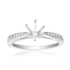14K White Gold 0.20 ct Diamond Engagement Ring 6 Prong Setting