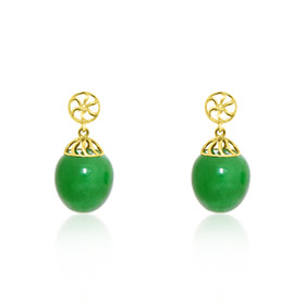 14K Yellow Gold Green Jade Dyed Ball Drop Earrings 42002657