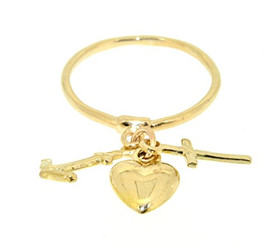 14K Yellow Gold Faith Hope and Charity Ring 10017110