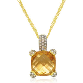 "18K Yellow Gold Citrine/Diamond With 18"" Chain 32000480"