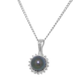 14k White Gold Diamond Black Pearl Pendant 52001808